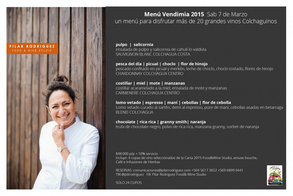 MENU VENDIMIA 2015 EN PILAR RODRIGUEZ FOOD &WINE STUDIO